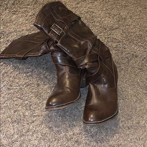 Shoes - Brown slide on boot. Size 11